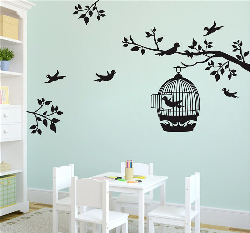 Bird Cage Tree Leaves Wall Sticker Decal Vinyl Wall Art