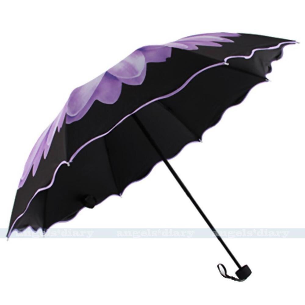 purple windproof anti uv sun rain folding umbrella daisy flower parasol umbrella ebay. Black Bedroom Furniture Sets. Home Design Ideas