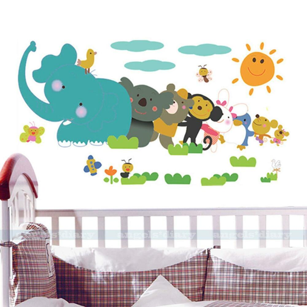 Safari Animals Removable Vinyl Art Wall Sticker Kids Mural Decal Diy Home Decor Ebay