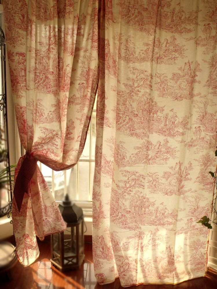 """PAIR(2) ~78"""" French Toile curtain panels Ruffle RED Check Jamestown +2 ..."""
