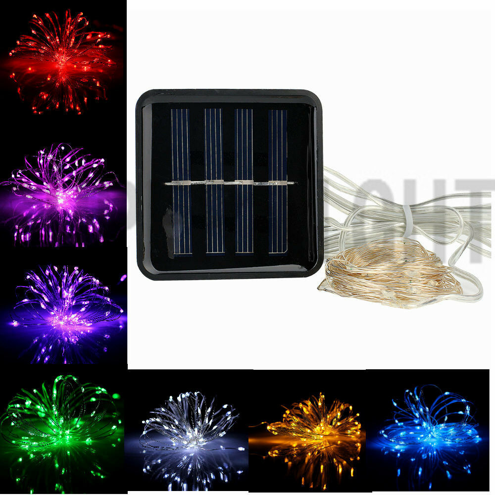 solar powered outdoor copper wire material string lamp led fairy light