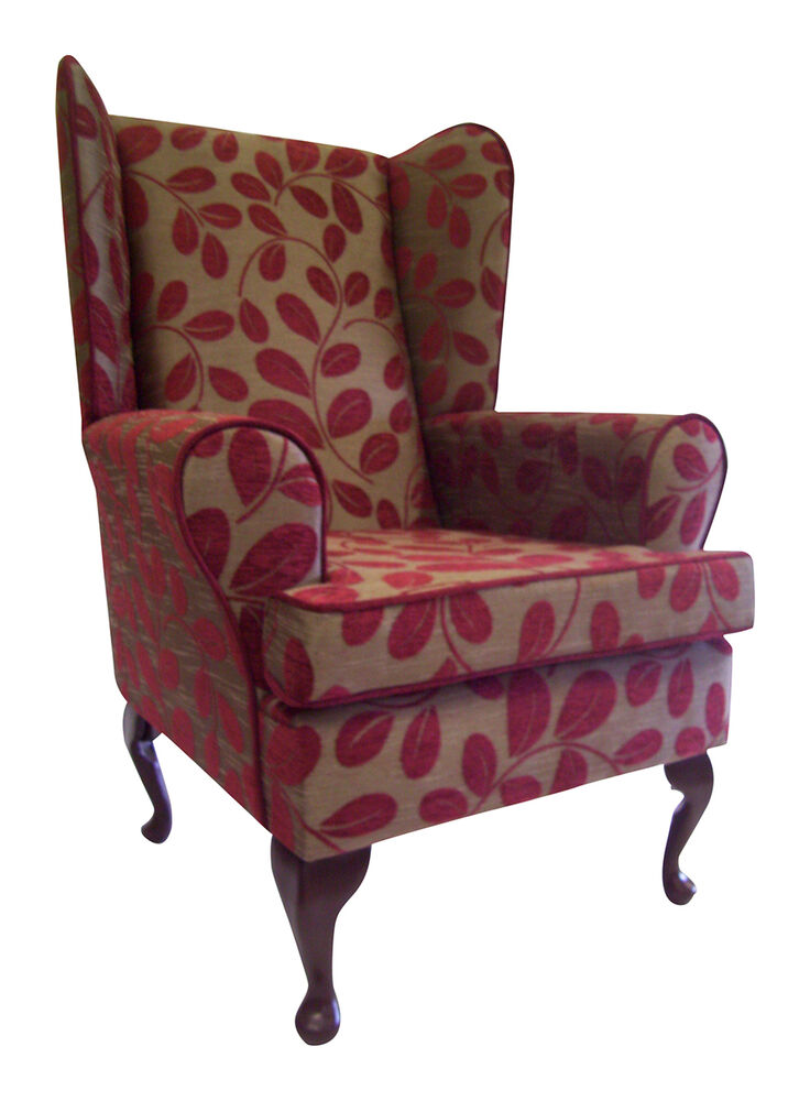 Fireside Wing Back Queen Anne Chair Orchard Leaf Flame