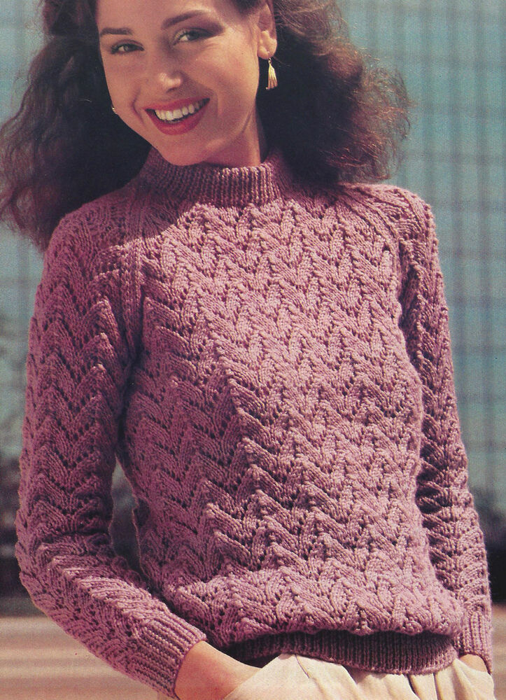 Knitting Patterns For Larger Ladies : Ladies Sweater Knitting Pattern DK 40-50
