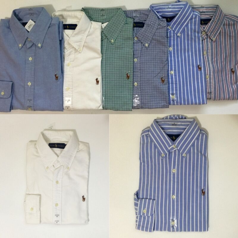 Nwt polo ralph lauren men 39 s long sleeve button down oxford for Mens button down sport shirts