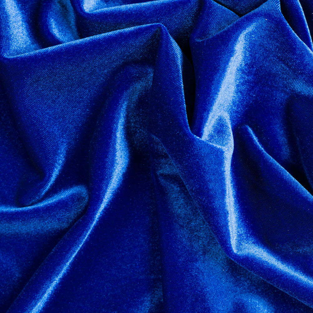 Stretch velvet royal blue fabric 58 wide sold by the for Velvet fabric
