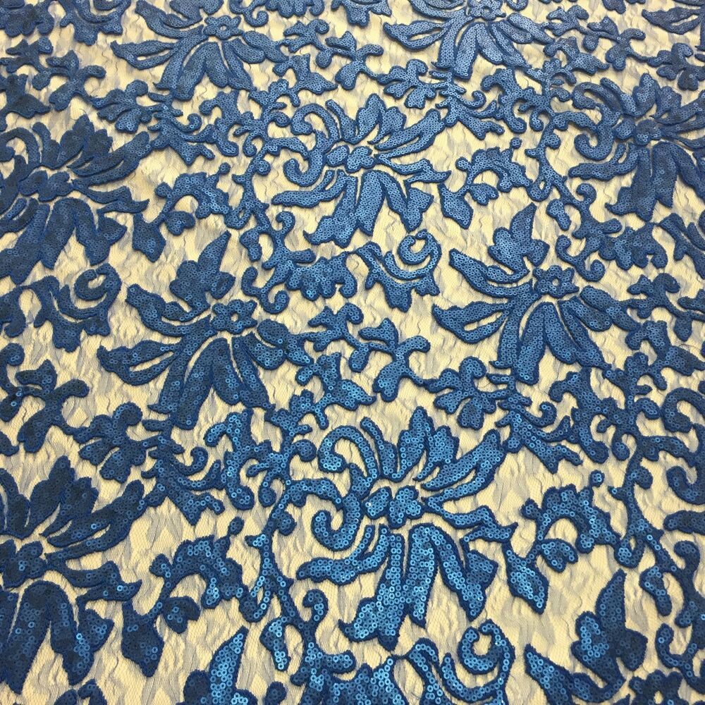 Beyonce Floral Apparel Sequence Lace Fabric Royal Blue