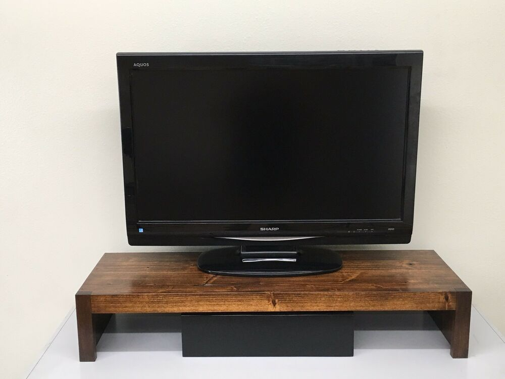 Modern tv riser laptop printer stand rustic hardwood