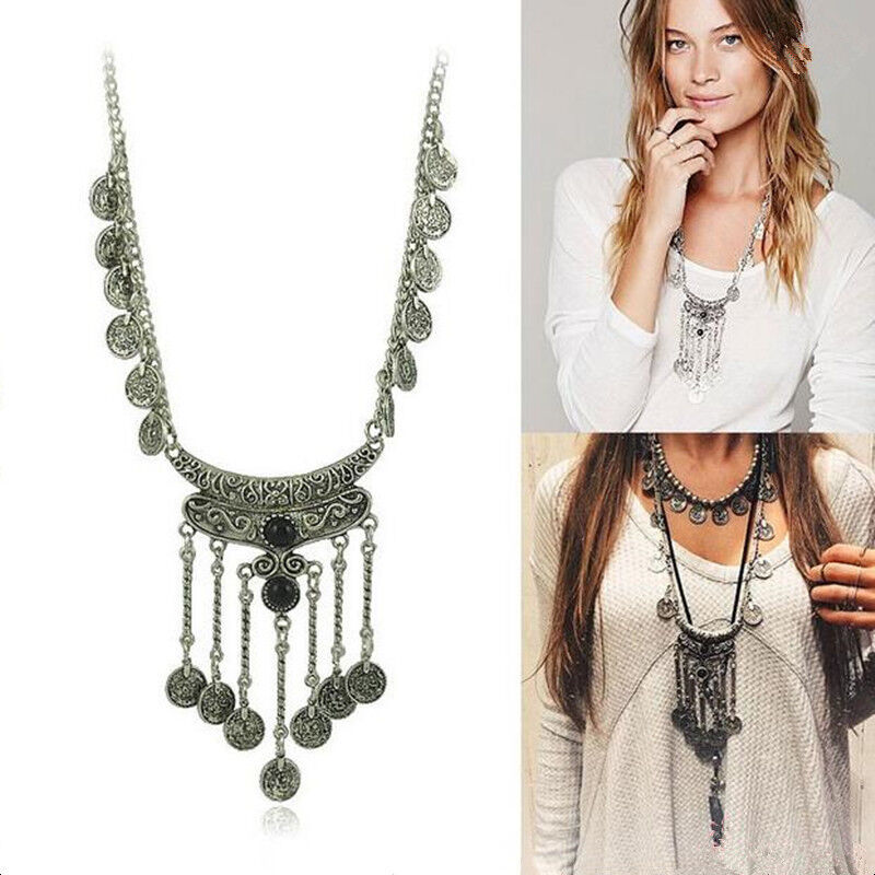 Women Bib Gypsy Ethnic Boho Coin Long Chain Necklace ...