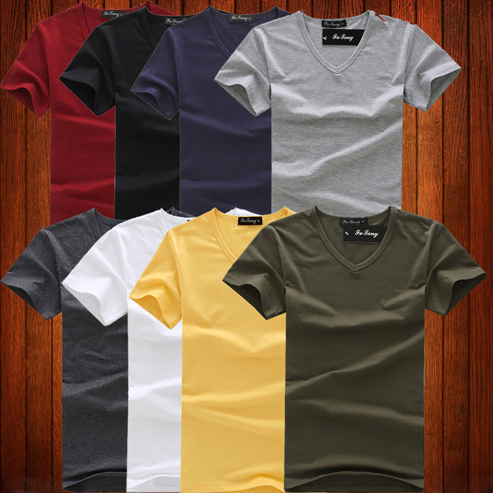 New mens cotton slim fit solid color t shirt short sleeve for Plain colored v neck t shirts