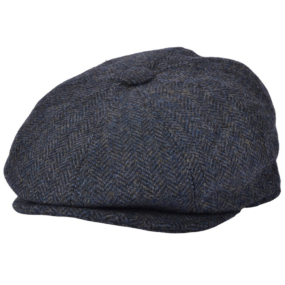Details about G   H Blue 100% Wool Herringbone 8 Panel Peaky Blinders Style Newsboy  Cap Hat 59a8dfd6eb0
