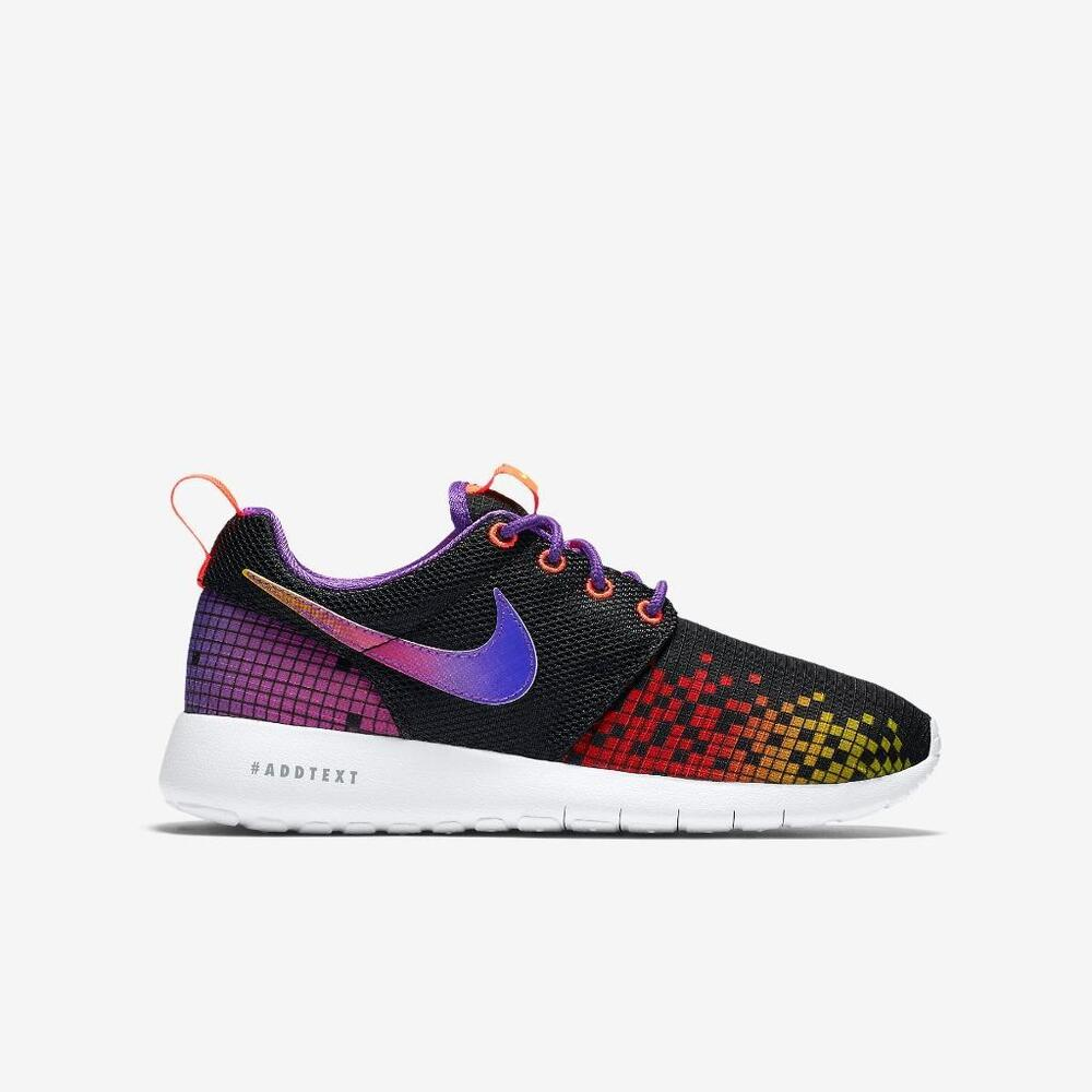 best service a4582 0500f Details about NIKE ROSHE ONE PRINT GS 8-BIT 677784 003 BLACK WHITE-HYPER  VIOLET PURPLE-PINK