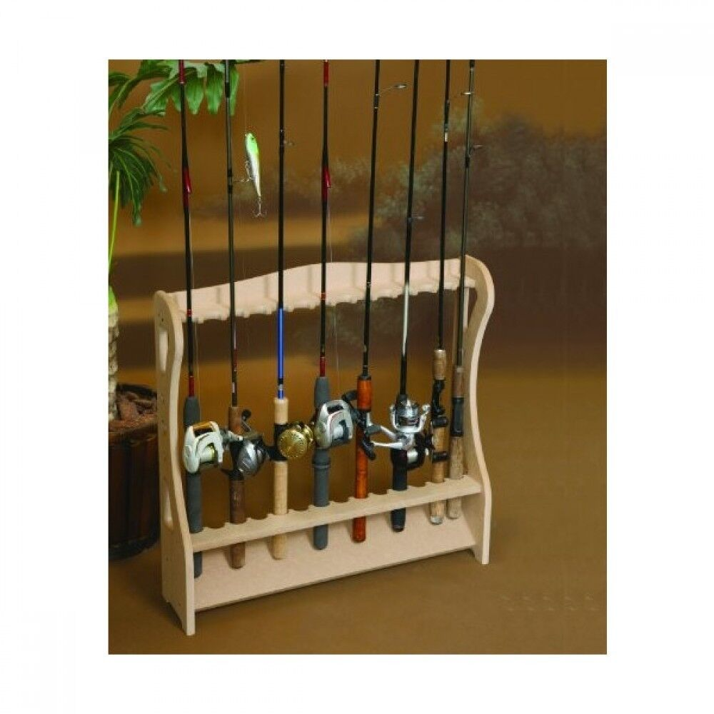 Exhibition Stand Organizer : Fishing rod storage rack wood display stand for pcs new