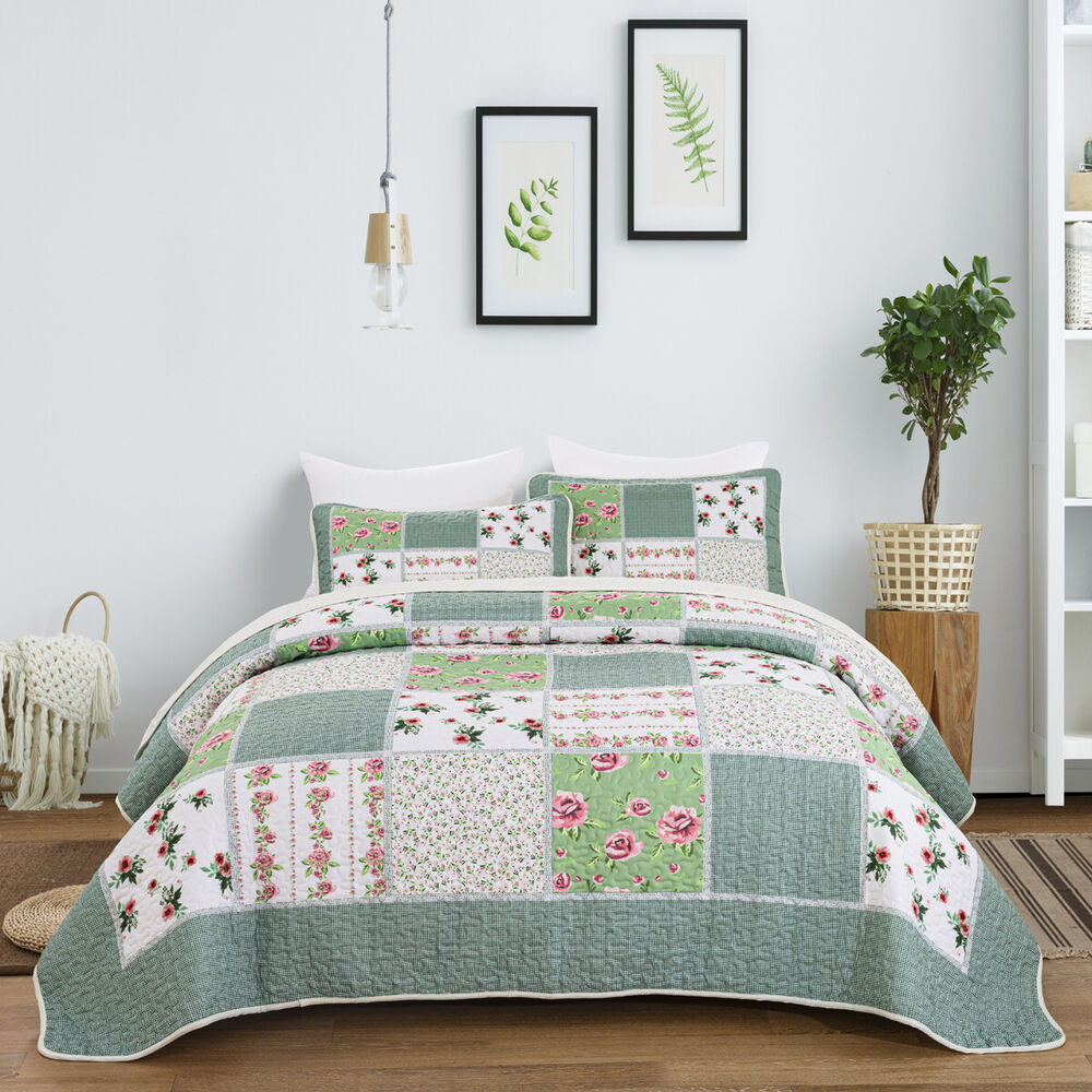 Floral Queen King Bed Linen Green Tone Patchwork Quilted