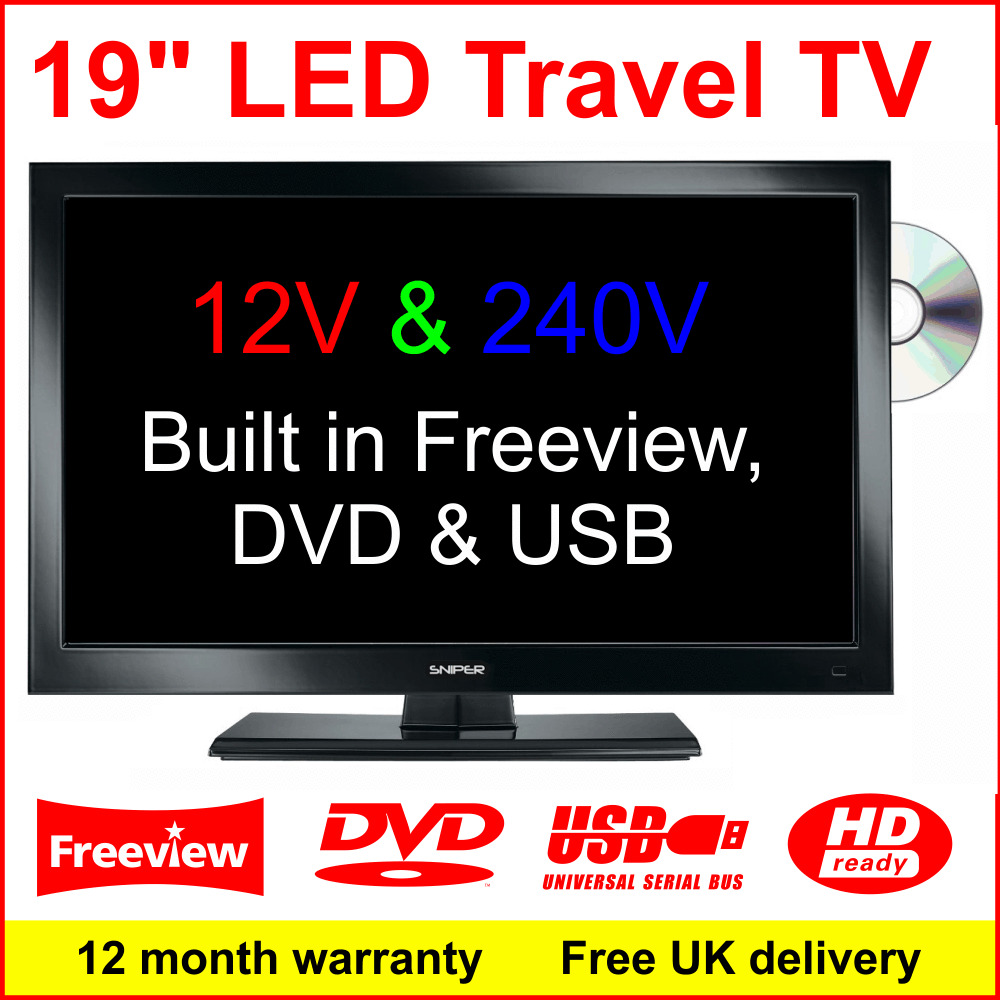19 12v ultra slim led tv with dvd usb 12 volt motorhome caravan boat marine ebay. Black Bedroom Furniture Sets. Home Design Ideas