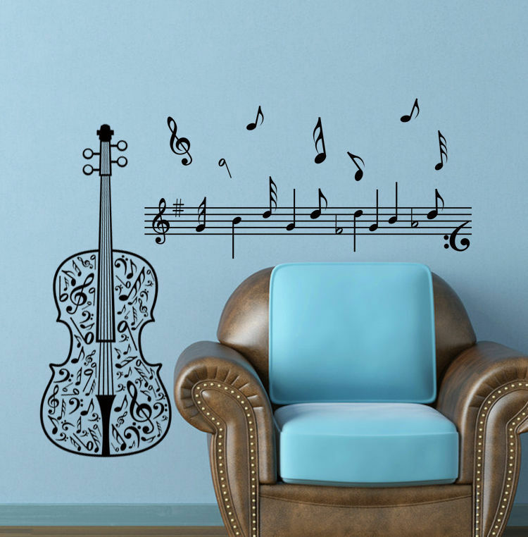 Large Wall Sticker Decor Music Note Guitar Decal Home