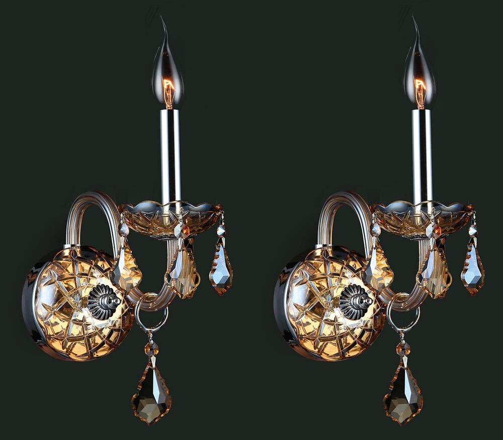 Amber Crystal Wall Lights : Pair Set of 2 Provence 1 Light Amber Crystal Candle Wall Sconce 4
