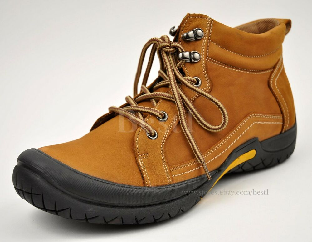 Men S Tan Genuine Leather Hiking Trail Casual Winter Work