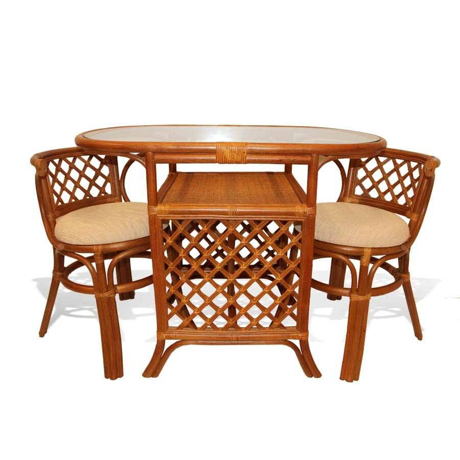 Borneo handmade rattan wicker compact dinette dining set for Compact table and chairs set