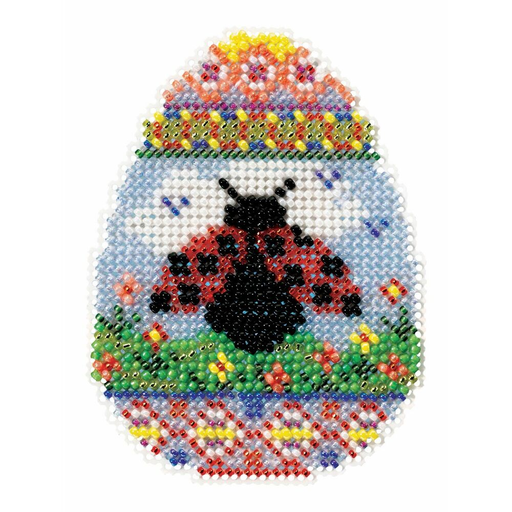 ladybug egg bead cross stitch kit mill hill 2016