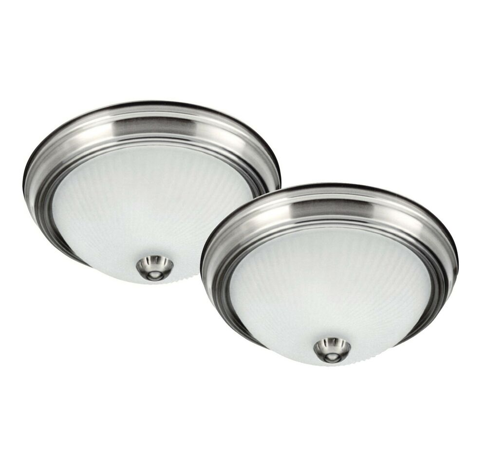 2 Pack Brushed Nickel Flush Mount Ceiling Light Fixture Hallway Bedroom Lighting Ebay