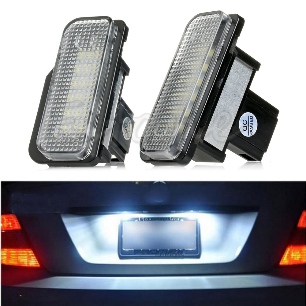 2pcs white license plate led light error free for mercedes for Led light for mercedes benz