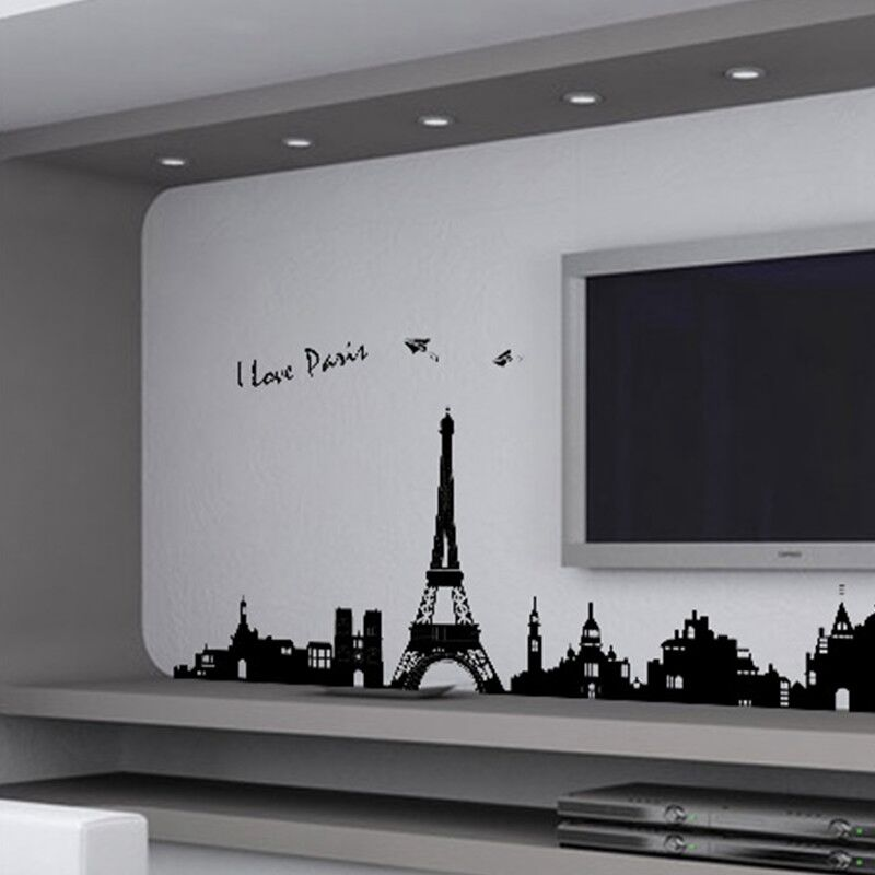 Paris eiffel tower wall sticker removable home decor art for Diy photo wall mural