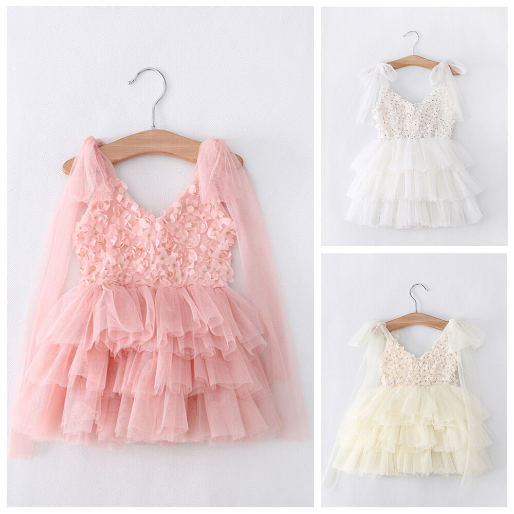 Baby girls dress lace flower tulle tutu gown formal party dresses