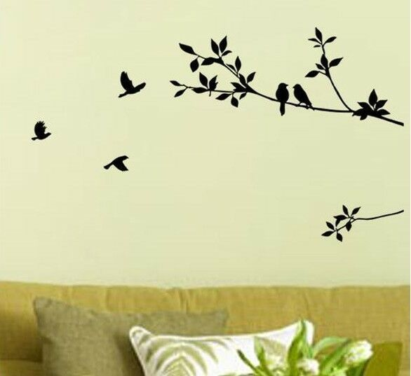 Black bird tree leaf wall stickers decal removable home for Black tree mural