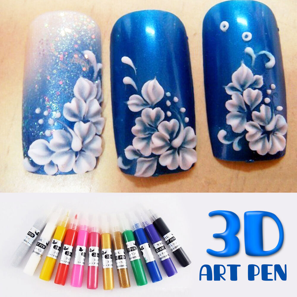 Nail Art Pens: New 3D Painting Drawing Nail Art Pen Set Kit For UV Gel