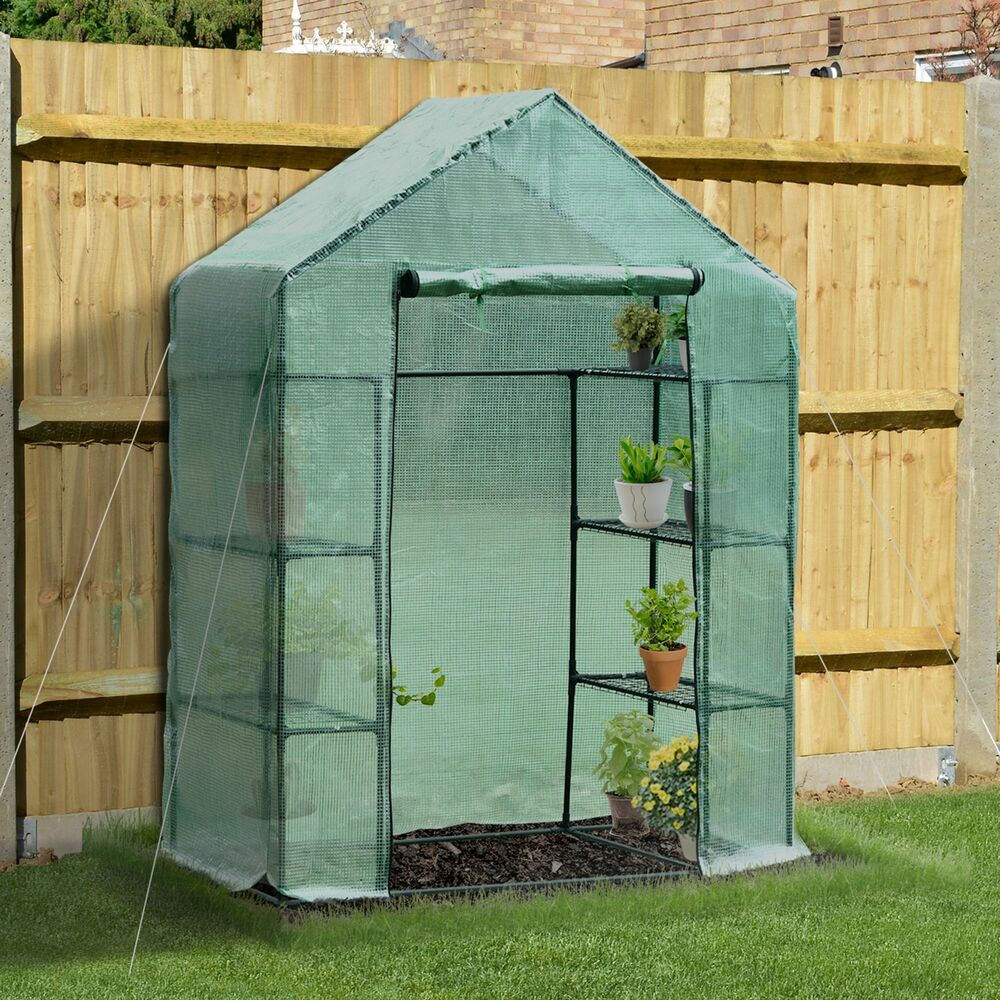 outsunny 4 tier warm pop up greenhouse plant flower garden shed w