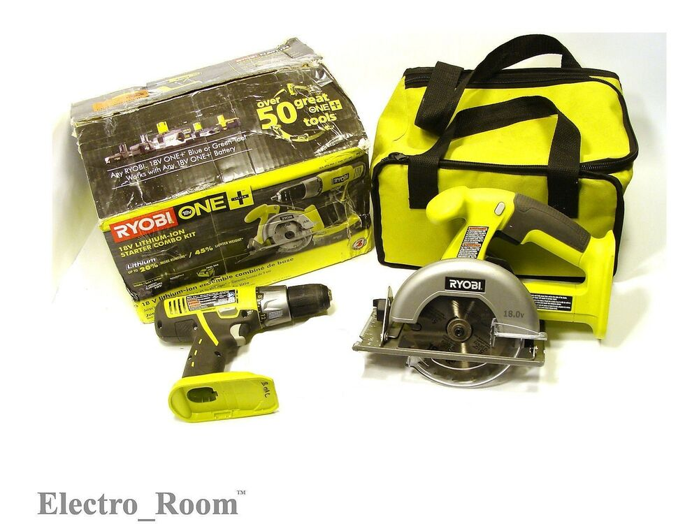 ryobi p825 18 volt one lithium ion combo kit 2 tools drill saw bare tools ebay. Black Bedroom Furniture Sets. Home Design Ideas