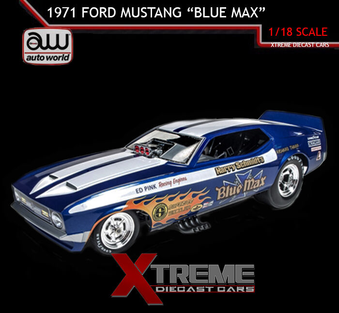 AUTOWORLD AW1171 1:18 1971 FORD MUSTANG BLUE MAX NHRA