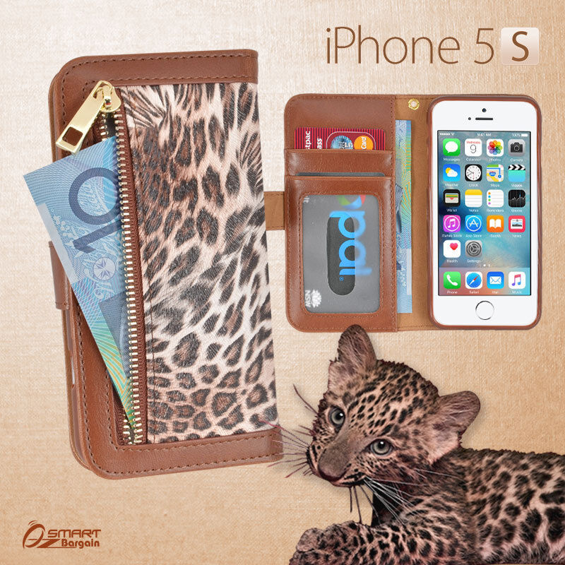 wallet phone case iphone 5 leopard zip wallet bag id card flip leather cover for 18168
