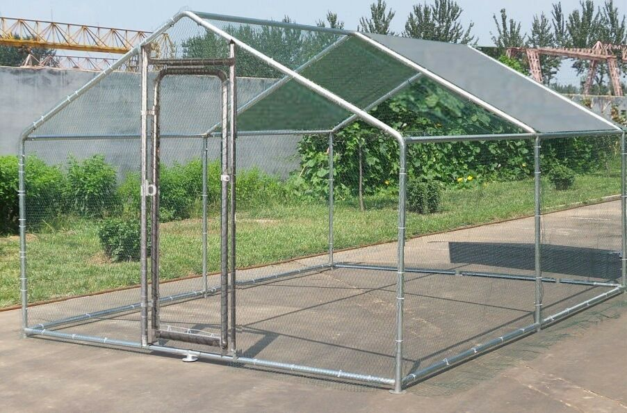 Chicken run 13x10 ft walk in coop for poultry dog rabbit for Dog kennel greenhouse