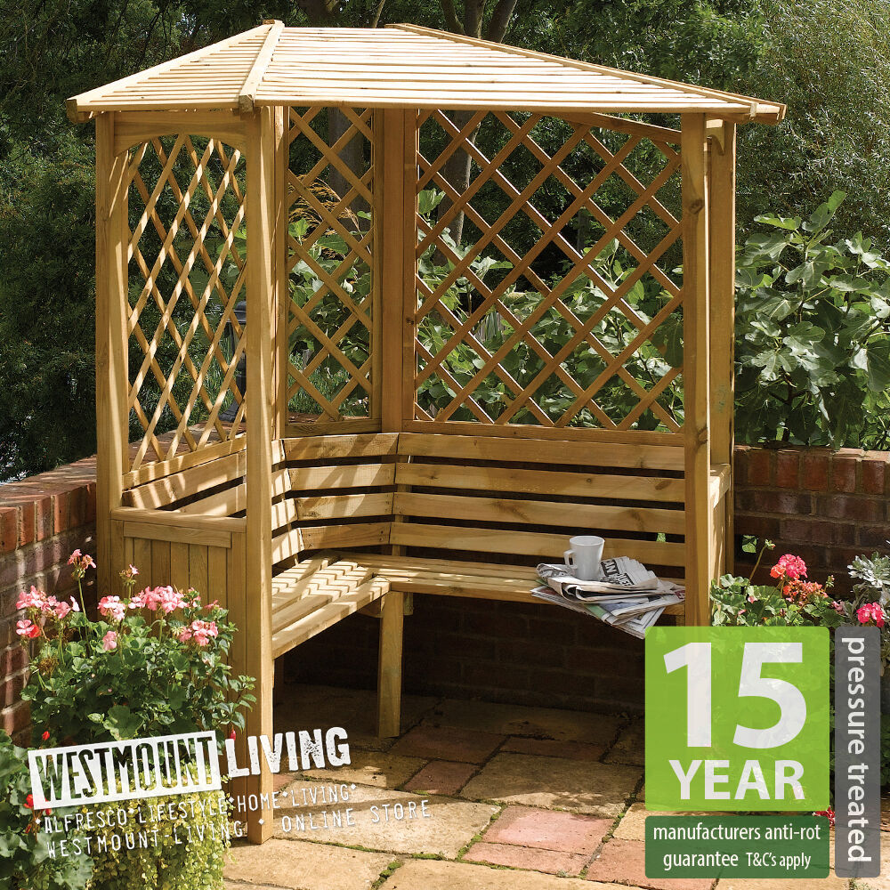 Small Garden With Decked Path And Arbour: New Wooden PRESSURE TREATED Corner Garden Arbour Bench