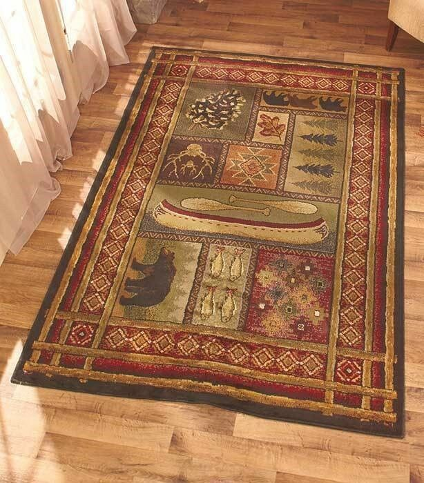 Lodge themed 63 x 86 area rug bear canoe trees rustic for Rustic bear home decor