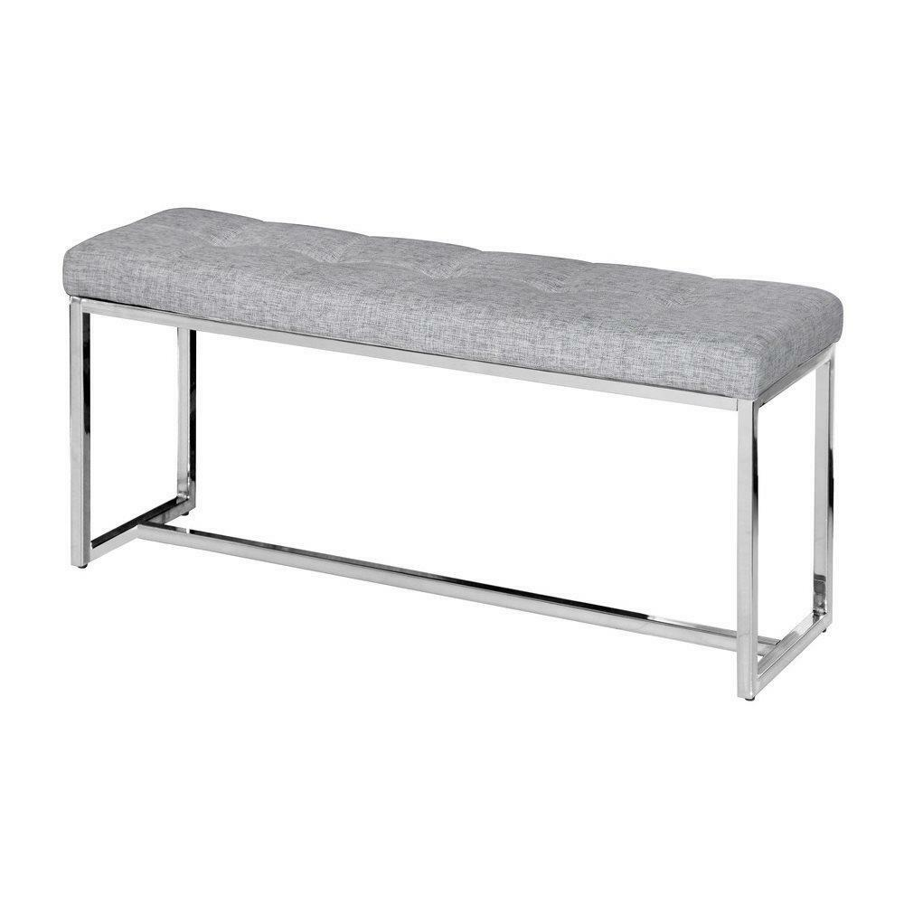 Modern black white fabric entryway bench upholstered seat tufted chrome metal ebay White upholstered bench