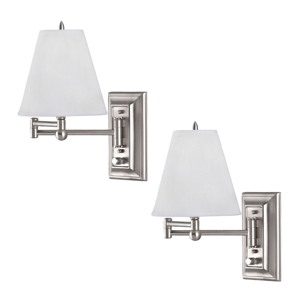 Brushed nickel wall mount swing arm reading bedside lamp for Bedside wall lamps for reading