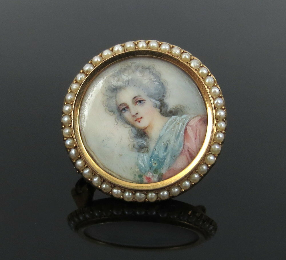 Antique Natural Pearl Painted Portrait 18k Yellow Gold