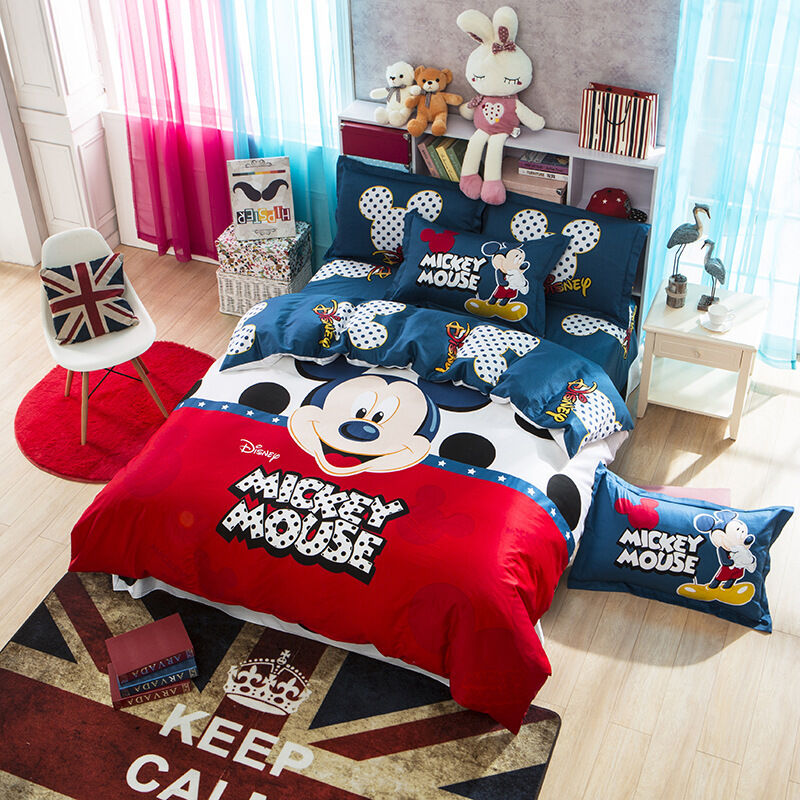 Cartoon Children Disney Mickey Mouse Printed Bed Quilt