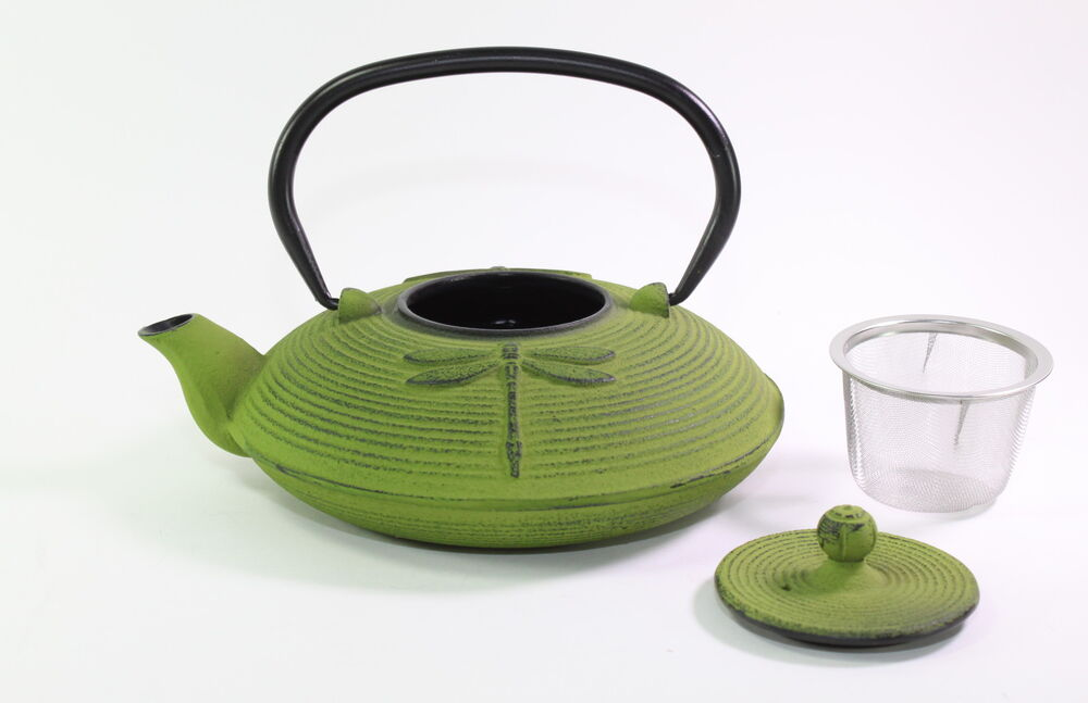 24 fl oz green dragonfly japanese cast iron teapot tetsubin with infuser filter ebay - Japanese teapot with strainer ...