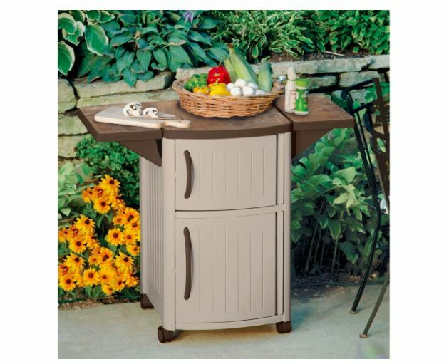 Suncast outdoor patio cart bbq grill prep serving station for Outdoor bbq grill cabinets