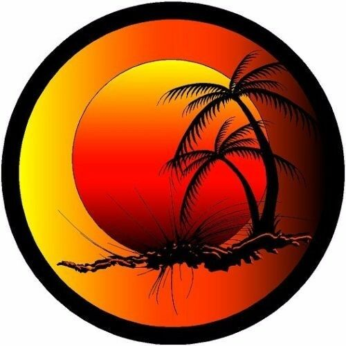 Round tropical sunset decal camper rv motor home mural for Decals for rv mural