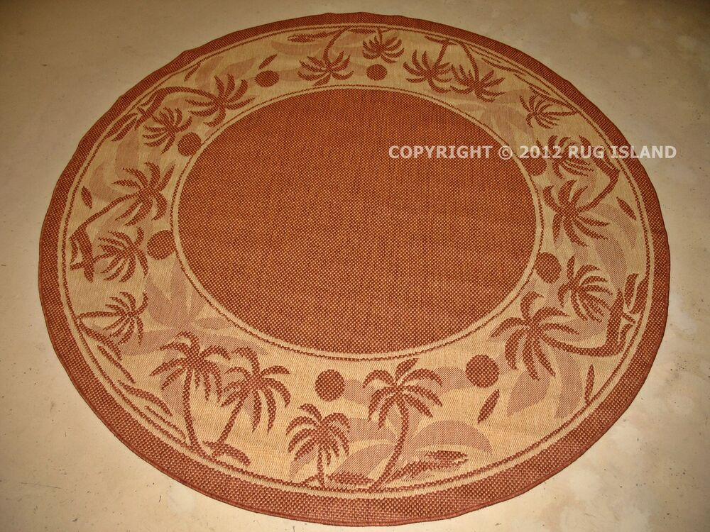 9 8 6 Quot Round Tropical Palm Indoor Outdoor Terracotta
