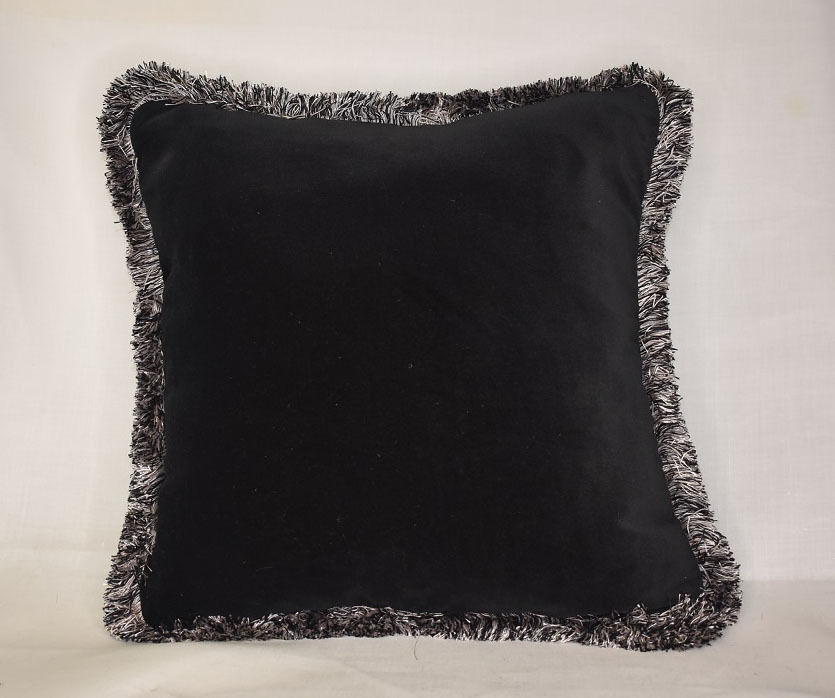 Large Throw Pillows Couch : large solid gold velvet throw pillow with fringe for sofa chair couch black red eBay