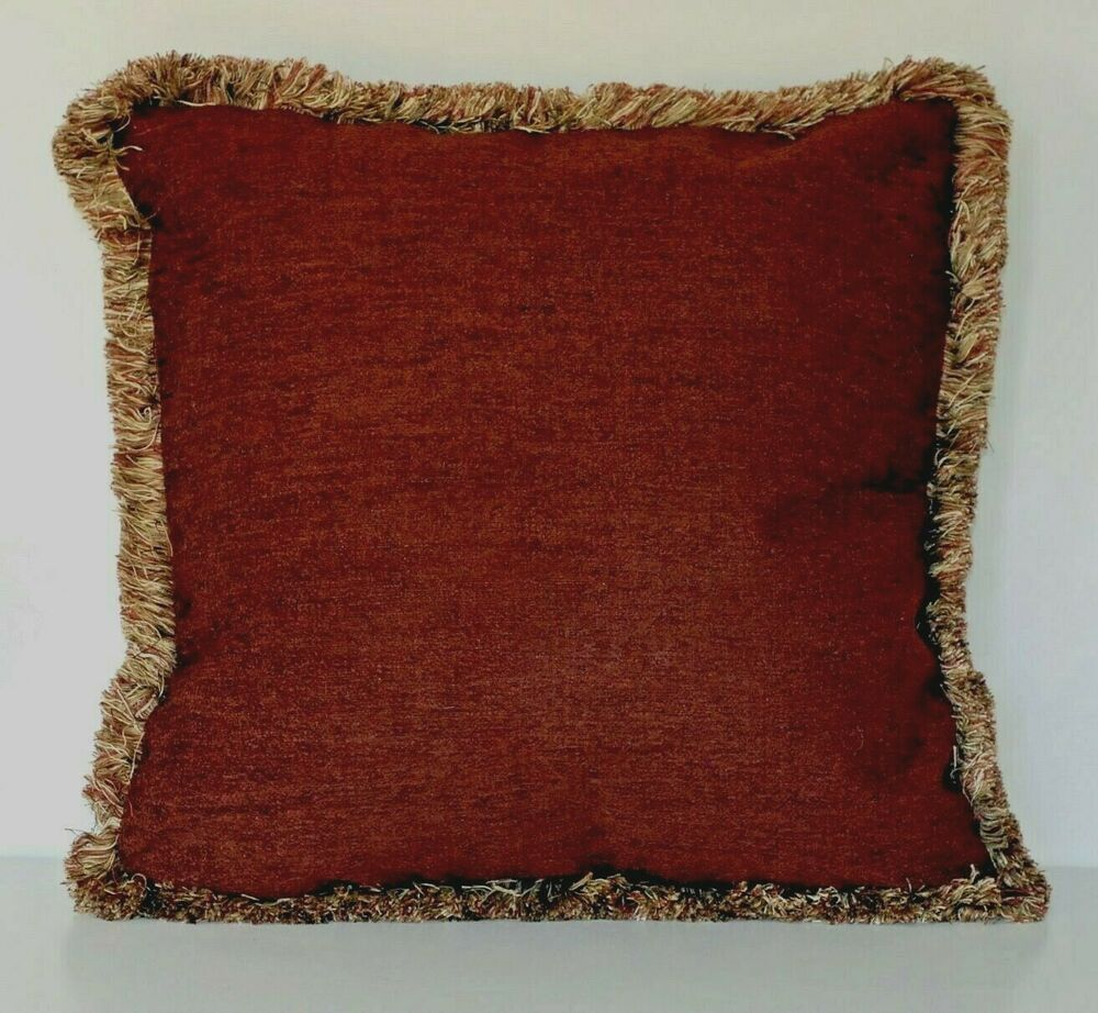 large solid rust chenille fringe decorative throw pillow for sofa or couch usa eBay