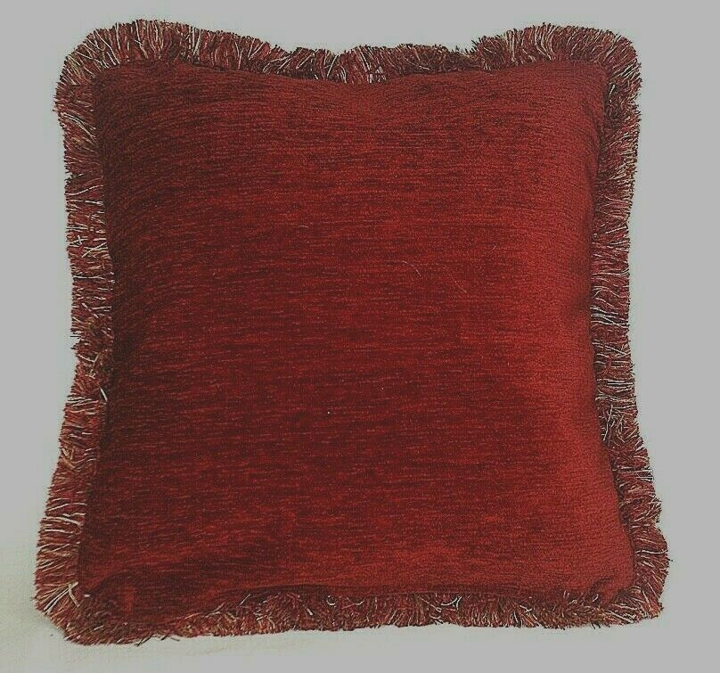 Large Throw Pillows Couch : large solid rust chenille fringe decorative throw pillow for sofa or couch usa eBay