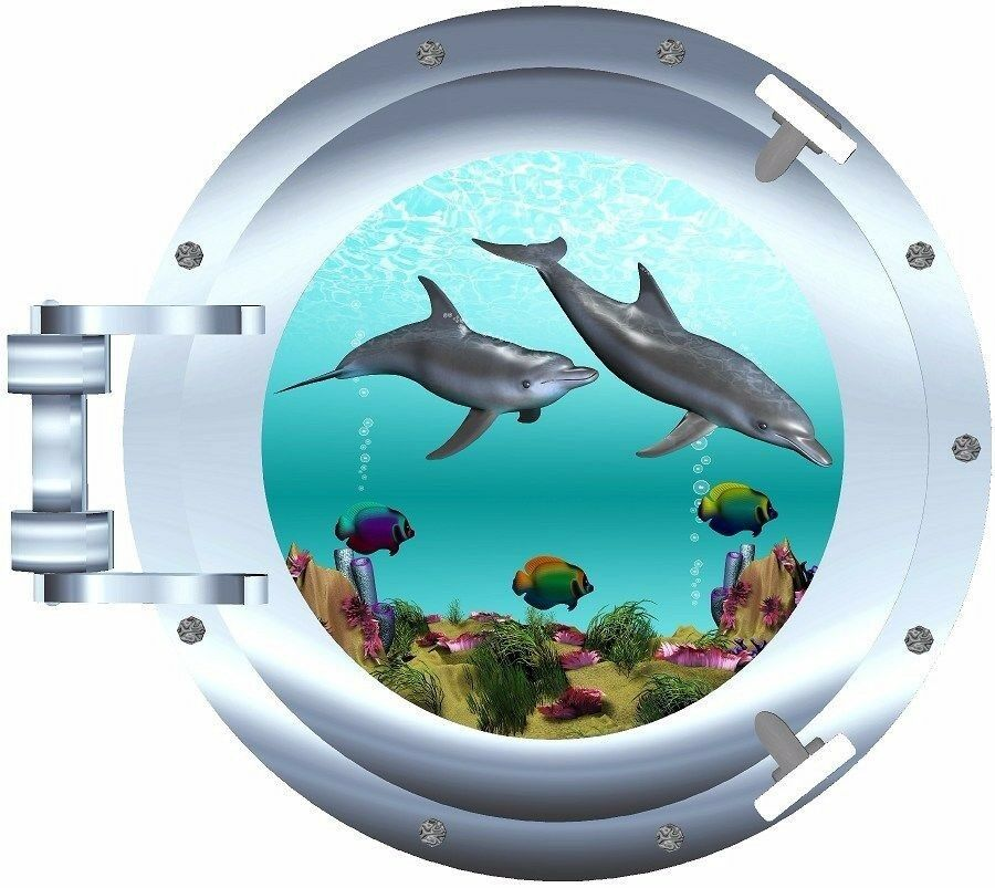 Dolphins tropical fish seascape porthole decal camper rv for Decals for rv mural