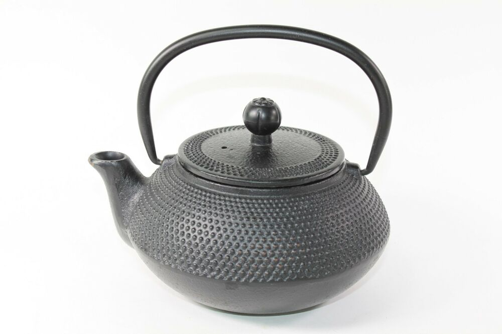 24 fl oz black small dot japanese cast iron teapot tetsubin with infuser filter ebay - Japanese teapot with infuser ...