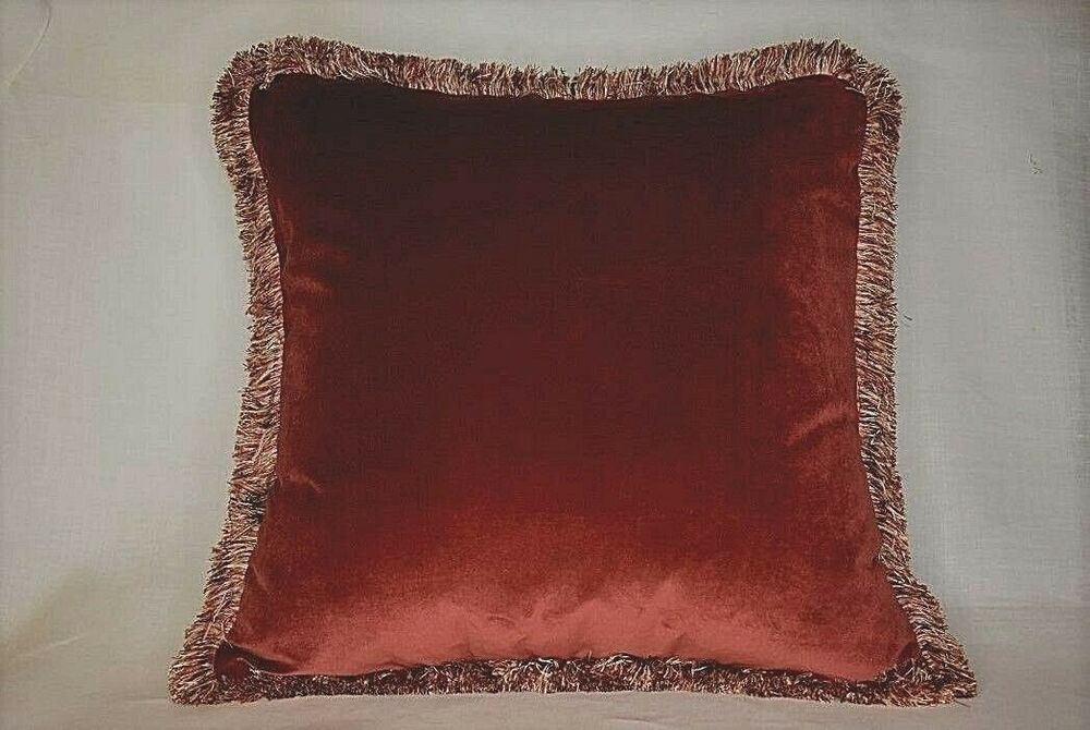 Solid Velvet Decorative Throw Pillows With Fringe For Sofa